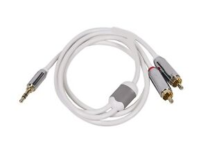 3 FT 3.5 mm Auxiliary Aux Plug to 2-RCA L R Jacks Gold Plated Audio Cable White