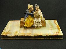 Superb 19 c. Bronze Oriental Chinese / Japanese Seated Couple On Onyx Base