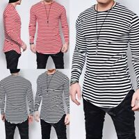 Men's Women's T Shirt Striped Top Black and White Dress Crew Neck Long Sleeves