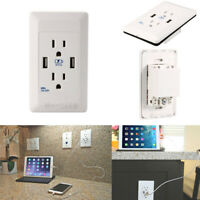 110V Dual USB Port Wall Socket Charger AC Power Receptacle Outlet Plate Panel