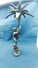 SOLID BRASS / BRONZE OF 2 MONKEYS CLIMBING PALM TREE - CANDLE HOLDER