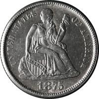 1875-CC Seated Liberty Dime AU/BU Details Blast White Great Eye Appeal