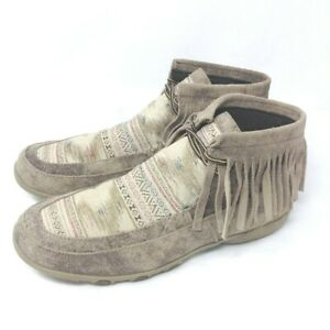 Roper Womens Santa Fe Fringed Chukka Boots Brown Southwestern Suede Leather 11