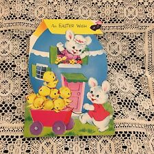 Vintage Greeting Card Easter Wish Norcross Egg House Chicks Bunny