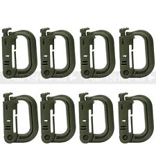 10x Plastic Green Carabiner Spring Snap Hook Keychain Outdoor Tactical D-Ring