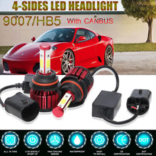 4Side+Canbus 9007 Hb5 Cob Led Headlight Kit 32500Lm Hi-Lo Beam Bulbs 6000K White (Fits: Daewoo)