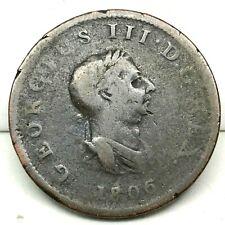 1806, GREAT BRITAIN , GEORGE III (1/2) HALF PENNY, COPPER COIN - KM# 662- RARE.
