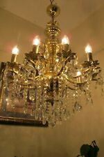 ANTIQUE Vintage French 10 Arms Crystal Chandelier Lamp Light Luster 1960's 22 in
