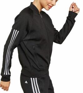 adidas Women's ID Bomber Sports Jacket Black 3-Stripes Jersey Knit Zip Track Top