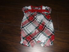 GYMBOREE JOYFUL HOLIDAY 0-3 PLAID ROMPER OUTFIT