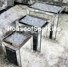 CRUSHED DIAMOND SILVER CRYSTAL NEST OF TABLES