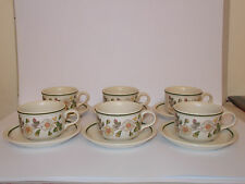 6 x VINTAGE M&S caffè tazze e piattini Autumn Leaves STONEWARE BELLA