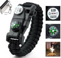 Paracord Survival Bracelet Fire Starter, Compass Whistle SOS Led Light, USA SHIP