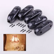 5Pcs Black ON/OFF Table Lamp Desk Bed Light Cord In Line Rocker Switch 250V 6A