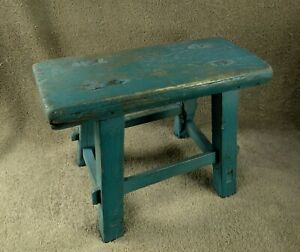 Antique Wooden Farm FOOTSTOOL  MILK STOOL Hand Made Old Blue Paint