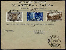 1933 - Lettera per Isili - Affrancatura multipla con commemorativi