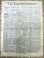 1763 London Chronicle newspaper w early news from BRIDGETOWN Barbados CARIBBEAN