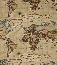 1 Metro Atlas Antiguo Vintage Mapa Del Mundo Tela Textiles de prestigio 100% algodón