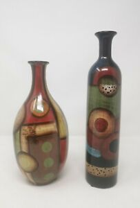 Pair Contemporary Brown Green Tone Abstract Art Vases Glaze