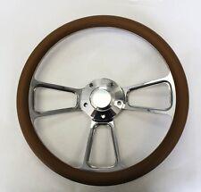 "Falcon Thunderbird Galaxie Steering Wheel TAN Grip & Billet 14"" Shallow Dish"