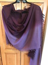NWT EILEEN FISHER Wool Silk Cashmere Ombre Scarf Wrap Raisenette Purple Ret $118