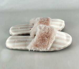 Victoria Secret Signature Satin Slippers Pink White Stripes Size Medium Faux Fur