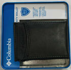 New Columbia Men's Coated Leather Front Pocket Wallet Black Color $19.00