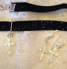 Black Sparkle Velvet Ribbon Choker With Cross + Earings./ina Box