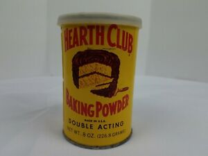 Vintage Tin Canister Hearth Club Baking Powder Yellow w/ Plastic Lid 8 oz Cake