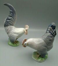 Vintage Royal Copenhagen Denmark Rooster & Hen Chicken Figurines 1024 & 1025