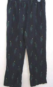 Lounge Pants Sz XL Nautica Sleepwear Navy 100% Cotton Flannel Christmas Trees