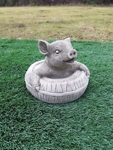 Solid concrete pig in a barrel,garden ornament,pigs,COLLECTION ONLY
