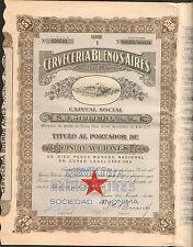 titre 5 actions: CERVECERIA BUENOS AIRES (ARGENTINE) (R)