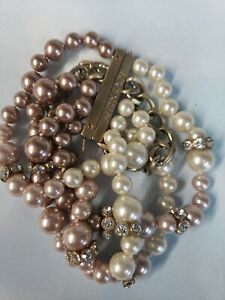 """Multi Strand Beaded Bracelet GIVENCHY Logo Beige Brown Tone Faux Pearls 7"""""""