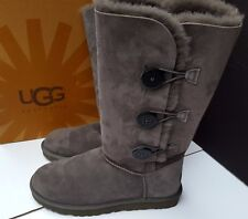 New UGG Tall Womens Bailey 3 Button Triplet Gray Winter Fur Boots 9 7.5 40
