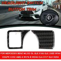 Carbon Fiber Headlight Switch Button Trim For Mercedes Benz A/B/C/GLK/GLA/GLE