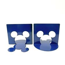 Disney Mickey Mouse Collection Bookends Blue Metal Ear Cut Outs Michael Graves