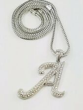 Silver Placed Iced Bling Letter A Pendant Long Franco Chain36''W2.2''L3''