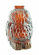 VINTAGE AMBER GLASS WISE OLD OWL COIN BANK LIBBY OF CANADA