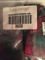 Longaberger Small Comforts Basket Liner Evergreen Plaid Fabric Home Decor Accent