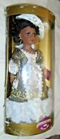 Vintage Porcelain Collectible Memories Gold White Dress Victorian Black Doll HTF