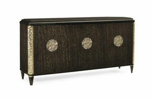 Modern 3-Door Credenza Featuring Granite Top and Majestic Gold accents