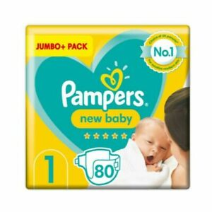 Pampers New Born Baby Nappies Size 1 Jumbo - 80pcs For Sensitive Newborn Skin