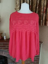 LADIES CORAL LACE DETAIL CRINKLE LONG SLEEVE  TOP FROM NEXT - SIZE 20 18