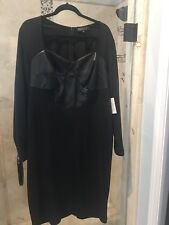 NWT ELOQUII (2X) Womens Black Long Sleeve Bodice Sexy Cocktail Knee Dress 20