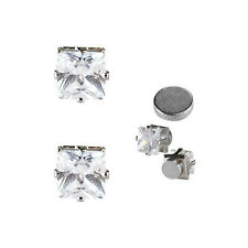 1 PAIR CZ CLEAR SQUARE MAGNETIC Clip-On EARRINGS STUDS Men Women 6mm