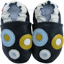 carozoo circle dark blue 2-3y soft sole leather toddler shoes