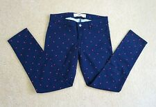 NEW Hollister Womens Skinny Jeans Jeggings Size 1 Blue Polka Dot Ankle Pants