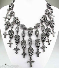 NewDesign Rhinestone/crystal skull cross Bib Statement Chunky Necklace Q578