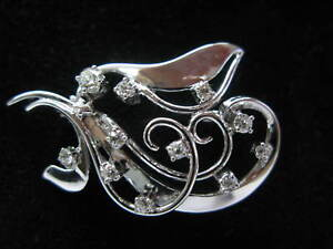 Vintage Old European Cut Diamond Pin Brooch White Gold 14KT 1.01CT